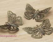 10pcs 38x28mm Antique Bronze Filigree Butterfly Wrap Charm WP1858