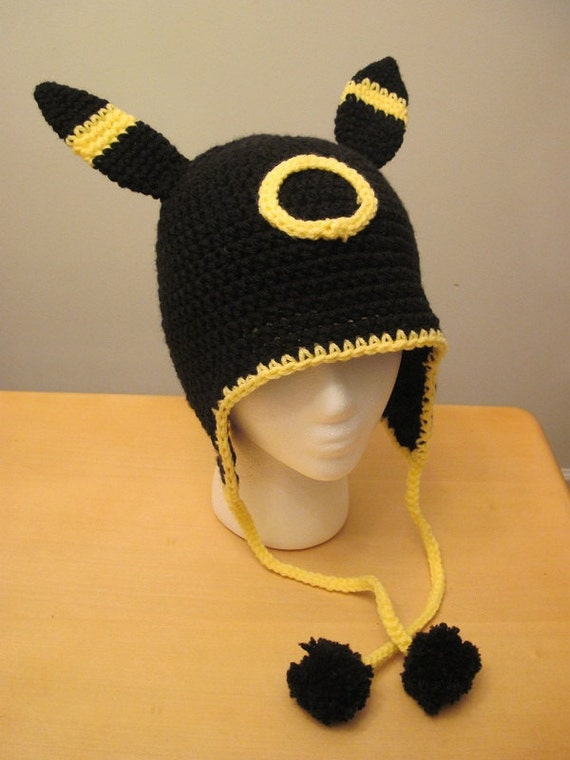 Crochet Umbreon : RESERVED Pokemon Umbreon earflap hat by corlista on Etsy