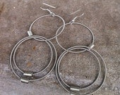 Recycled Bass Strings - Restored Bass String Triple Concentric Circles Earrings in Silver