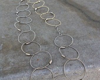 Recycled Guitar Strings - Restored Guitar String Chain of Truth Necklace in Silver and Gold