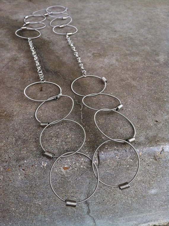 Recycled Bass Strings - Restored Bass String Chain of Truth necklace (split links) in Silver