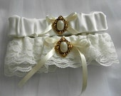 Lace Wedding Garter Set, Antique look, Gold and pearly button, ivory lace & ribbon (includes keepsake and toss garters) -- made to order