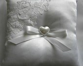 Lace Ring Bearer Pillow white satin small heart ribbon -- Lace Applique & Heart Button