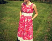 Summer Dress, Pink Sundress w/ Pockets, hot pink fabric and white lace trim, high neck, modest - Ready-made size 6