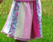 Pink Summer Skirt, Patchwork Skirt, Panel Skirt, One Size Fits Most, ReversibleBlackFridayEtsy PlaidFridayIN