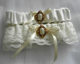 Lace Wedding Garter Set, Antique look, Gold and pearly button, ivory lace & ribbon (includes keepsake and toss garters) -- Size Medium