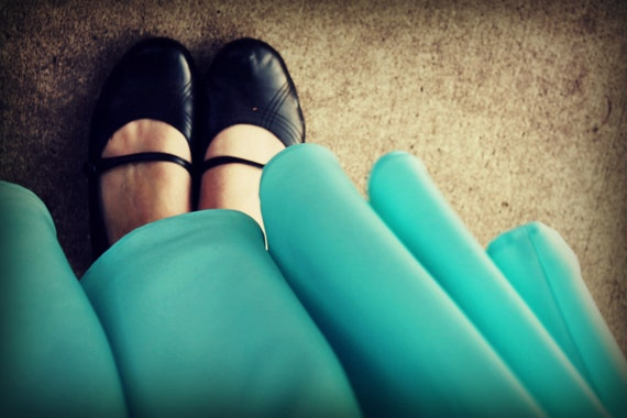 Aqua Circle Skirt, knee length, full skirt, summer skirt, mint skirt - made to order, sizes XL, XXL