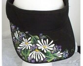 Women's Sport Visor Black with Hand Painted Daisies