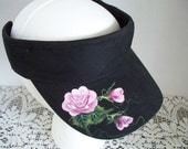 Women's Sun Visor Black with Hand Painted Pink Chic Roses