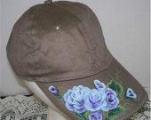 Women's Baseball Cap Khaki with Hand Painted Blue Roses