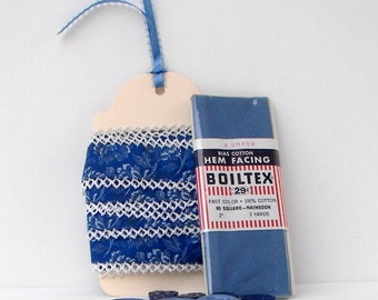 Vintage Notions, Sewing or Crafting Trim Mix - Fabric Trim, Hem Facing, and Buttons - Blue