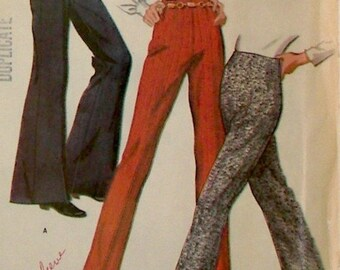Vintage McCall's Pattern 9517 - Pants Pattern - Dated 1968 - Bell Bottom, Stove Pipe, or Flare Leg Pants - Waist 27 Inches