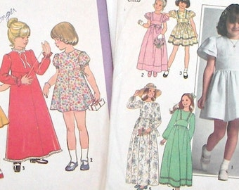 Girl's Dress Patterns - Size 6 - Two Patterns Dated 1977 - Simplicity 7947 & Simplicity 8321