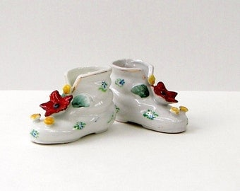 Porcelain Booties, Boots, Shoes - Occupied Japan - Antique - Collectible - Matching Set