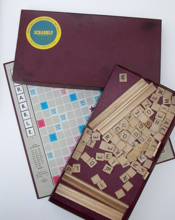 1953 Scrabble Game Vintage Scrabble Tiles Game By Fancyfigleaf