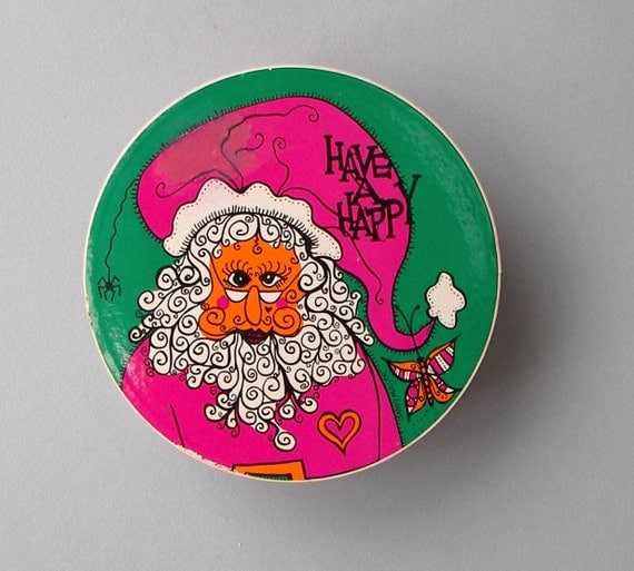 "Vintage Santa Puzzle - Springbok 7"" Circular Jigsaw Puzzle - Have A Happy by Sandy Miller - Holiday thingies - 1969"