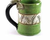 Pottery Porcelain Handmade Botanic Frog Green Mug
