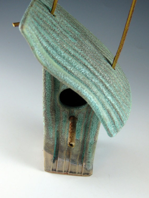 Ceramic Bird House Weathered Bronze Green Tin Pan Alley