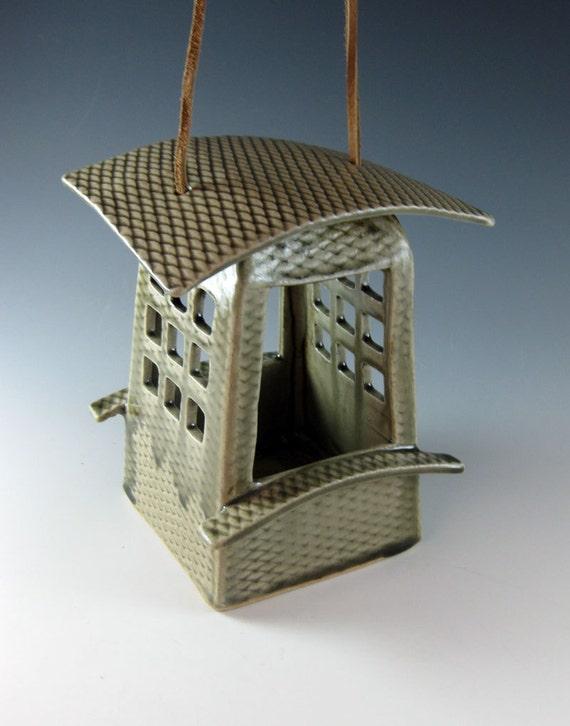 Modern Bird Feeder / Ceramic / Birds /Celadon Green / 401