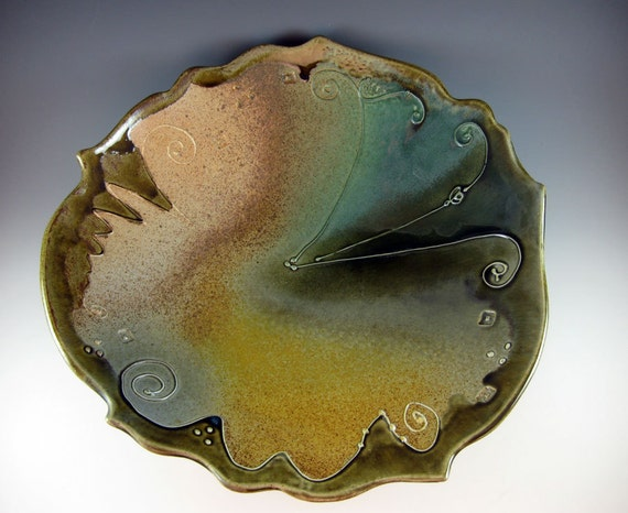 Large Ceramic Bowl for Serving or Wall Art Gold Green Wedding Gift - 409