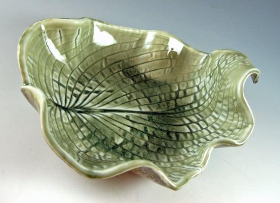 Ceramic Leaf Bowl / Porcelain / Hosta Leaf / Decorative Dish / Celedon Green / 438