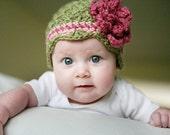 ON SALE Baby Flower Beanie, Baby Flapper Hat, Baby Cloche, Crochet Baby Hat