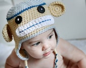 12 to 24 Months or 2T to 4T Baby Boy Monkey Hat, blue, tan