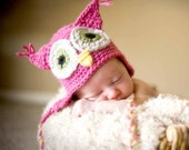 4 Colors Available, Baby Owl Hat, Newborn Photo Prop, crochet