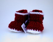 Christmas Baby Bootie Boots, crocheted, cranberry red, white