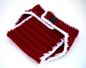 Baby Diaper Cover, Photography Prop, Santa, red, white, black