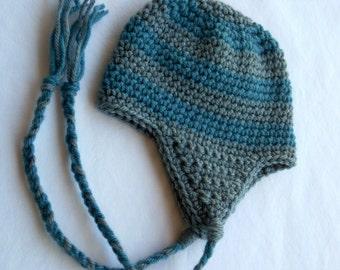 Baby Earflap Beanie, Baby Hat, Baby Beanie, Crochet Baby Hat