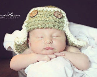 Baby Aviator Hat, chunky stitch, dusty green, cream