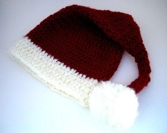 Baby Santa Hat, cranberry red, white, crochet, pom