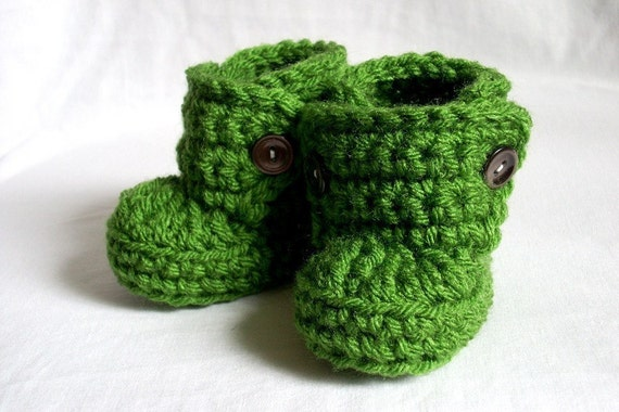 6-9 Months Baby Bootie Boots, crocheted, green