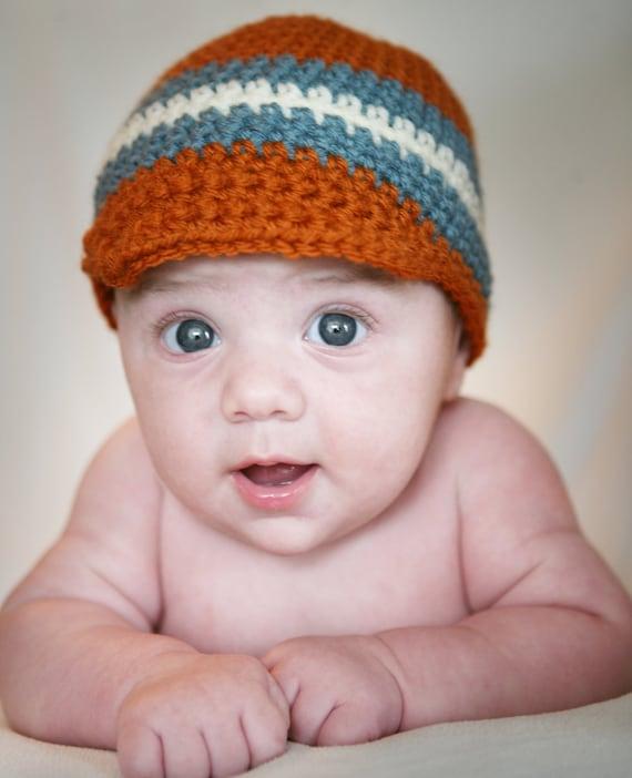 Baby Visor Beanie, Baby Hat, Baby Beanie, Crochet Baby Hat