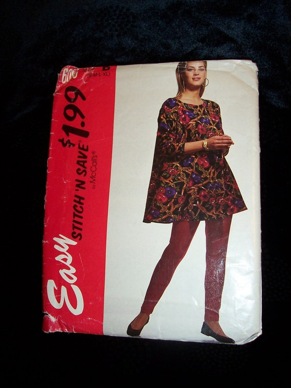 1992 McCalls 6093 Women Trapeze Top Tunic and Leggings Pattern  Multi Sz S M Lg Xlg