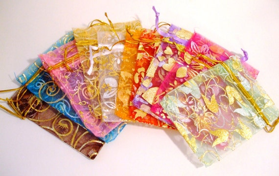 20 Mixed Organza Voile Print Gift-Jewelry Bags