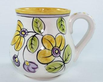 Hand Painted Ceramic Mug, Yellow and Purple Floral Coffee Mug -SKU1111-3