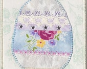 Easter Egg Quilted Fabric Postcard