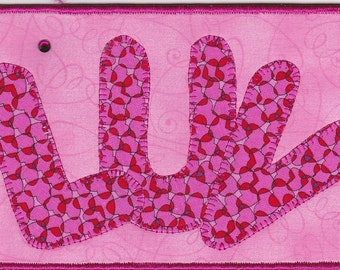 LUV Quilted Fabric Postcard