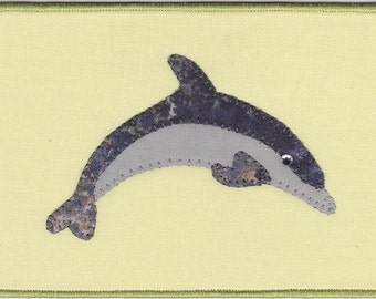 Dolphin Quilted Fabric Postcard