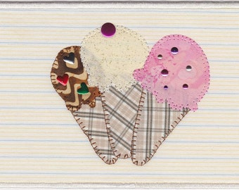 Ice Cream Cones Fabric Postcard