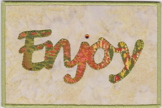 Sale Enjoy Quilted Fabric Postcard