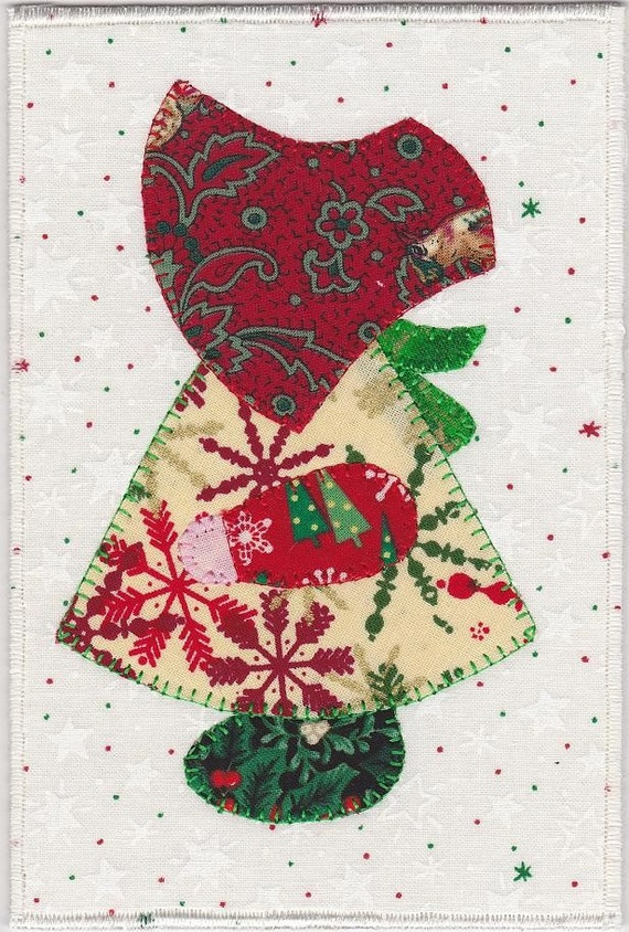 Christmas Sue Fabric Postcard