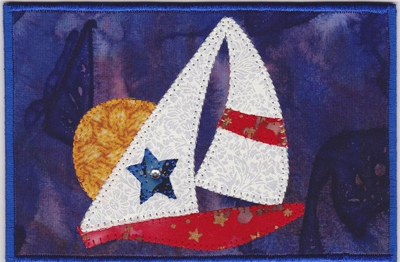 Sunset Cruise Quilted Fabric Postcard