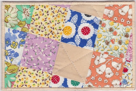Patchwork Fabric Postcard