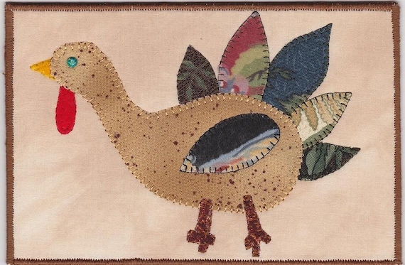 Turkey Time Quilted Fabric Postcard