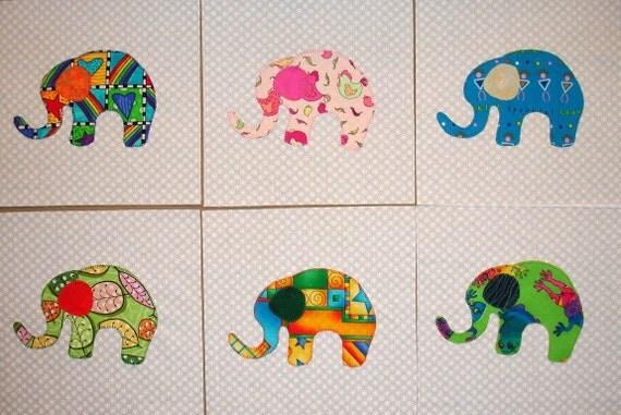 Baby Elephant Appliqued Quilt Blocks