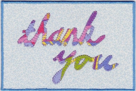 Thank You Fabric Postcard