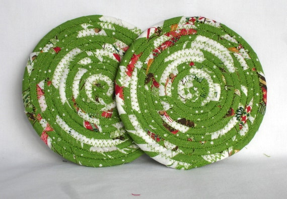Green coiled Fabric Coasters